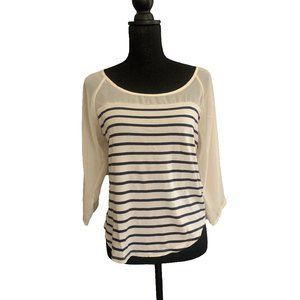LC 3/4 Sleeve Striped Blouse Bow Detail in Back, S